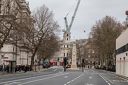 © Licensed to London News Pictures. 09/02/2020. London, UK. An empty Whitehall as Storm Ciara hits London and the South East. All 8 Royal Parks closed their gates this morning to the public as weather experts predict stormy weather with very high winds and heavy rain for Sunday. Photo credit: Alex Lentati/LNP