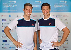 LIVERPOOL, ENGLAND - Sunday, June 18, 2017: Liverpool doubles duo brothers Neal and Ken Skupski during Day Four of the Liverpool Hope University International Tennis Tournament 2017 at the Liverpool Cricket Club. (Pic by David Rawcliffe/Propaganda)