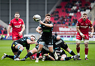 Glasgow Warriors' Ali Price gets the ball away<br /> <br /> Photographer Simon King/Replay Images<br /> <br /> Guinness PRO14 Round 19 - Scarlets v Glasgow Warriors - Saturday 7th April 2018 - Parc Y Scarlets - Llanelli<br /> <br /> World Copyright &copy; Replay Images . All rights reserved. info@replayimages.co.uk - http://replayimages.co.uk