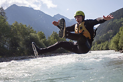 14.07.2015, Ainet, AUT, Eishockey Cracks bei Raftingtour auf der Isel, im Bild Marius Göhringer (Black Wings Linz, EBEL) // Hockey Cracks during a rafting tour on the East Tyrolean glacial river Isel. Ainet, Austria on 2015/07/14. EXPA Pictures © 2015, PhotoCredit: EXPA/ Johann Groder