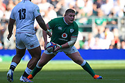 Ireland player Tadhg Furlong looks to offload the ball in the second half during the England vs Ireland warm up fixture at Twickenham, Richmond, United Kingdom on 24 August 2019.