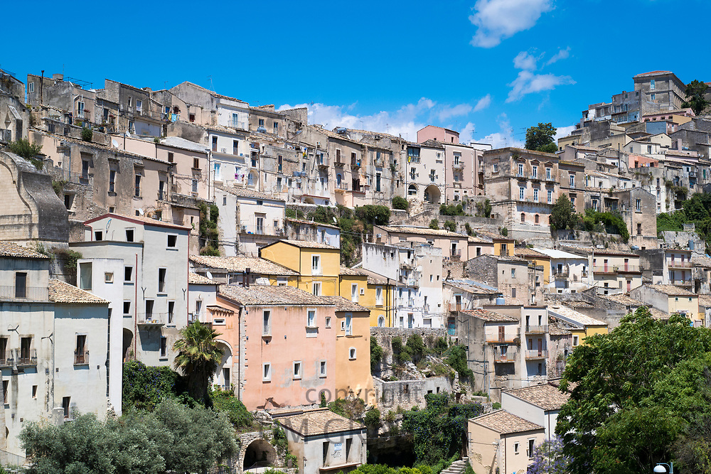 Aerial view of Ragusa Ibla, a famous hill town in South East Sicily