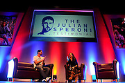 Last minute rehersals for Julian Speroni before The gloves are off. An Evening With Julian Speroni at  at Fairfields Hall, Croydon, United Kingdom on 20 January 2015. Photo by Michael Hulf.