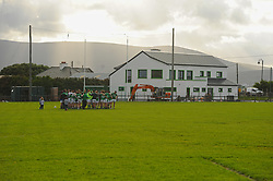 Achill team with new refurbished reovated clubhouse and changing rooms in the background. Pic Conor McKeown