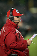 Kansas City Chiefs head coach Andy Reid looks on from the sideline during the NFL week 12 regular season football game against the Oakland Raiders on Thursday, Nov. 20, 2014 in Oakland, Calif. The Raiders won their first game of the season 24-20. ©Paul Anthony Spinelli