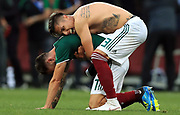 MOSCOW, RUSSIA - JUNE 17:  Mexico players 7 M. LAYUN , 3 C. SALCEDO , celebrate after match during the 2018 FIFA World Cup Russia group F match between Germany and Mexico at Luzhniki Stadium on June 17, 2018 in Moscow, Russia. , <br /> Football World Cup Russia 2018 - Germany vs Mexico 0:1, <br /> Football World Cup match in MOSCOW on June 17th 2018, Fussball-WM in Moskau, Deutschland - Mexiko, <br /> Honorarpflichtiges Foto, Fee liable image, Copyright &copy; ATP Amin JAMALI