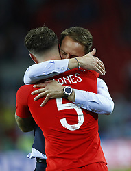 July 3, 2018 - Moscow, Russia - England coach Gareth Southgate celebrates with John Stones of England the victory after the penalty shootout of the 2018 FIFA World Cup Russia Round of 16 match between Colombia and England at Spartak Stadium on July 3, 2018 in Moscow, Russia. (Credit Image: © Matteo Ciambelli/NurPhoto via ZUMA Press)