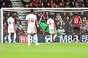 Goal - David Brooks (20) of AFC Bournemouth scores a goal to give a 1-0 lead to the home team beating Wayne Hennessey (13) of Crystal Palace during the Premier League match between Bournemouth and Crystal Palace at the Vitality Stadium, Bournemouth, England on 1 October 2018.