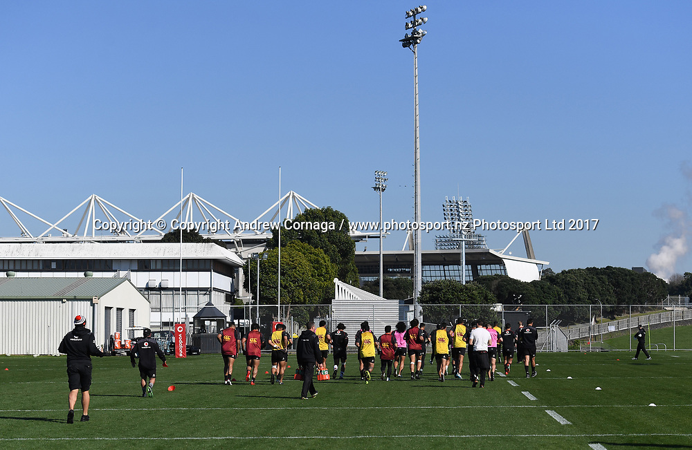 General view of the Warriors training base and #3 field.<br /> Vodafone Warriors training session. Mt Smart Stadium Auckland, New Zealand. NRL Rugby League. Wednesday 23 August 2017 &copy; Copyright photo: Andrew Cornaga / www.photosport.nz