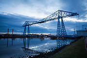 The Tees Transporter Bridge at dusk overlooking the River Tees, Middlesbrough, North Yorkshire, United Kingdom. Tees Transporter Bridge is one of England's most iconic bridges and is a Grade II listed building, meaning it is of special interest and requires every effort to be preserved.  (photo by Andrew Aitchison / In pictures via Getty Images)