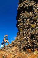 Walking, Hiking, Percurso pedestre Boca das Voltas, São Jorge, Pico Canário, Pico Ruivo, Achada Teixeira, Santana. Madeira Island, Portugal.Photo Gregorio Cunha