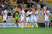 Johann Berg Gudmundsson celebrates scoring the first goal during the Sky Bet Championship match between Wolverhampton Wanderers and Charlton Athletic at Molineux, Wolverhampton, England on 29 August 2015. Photo by Alan Franklin.
