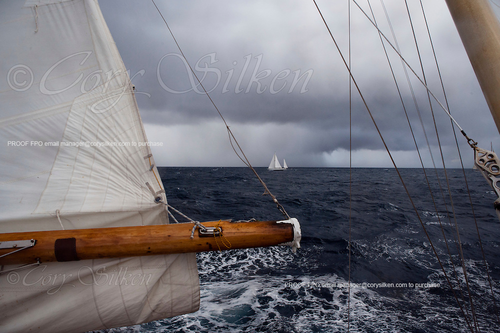 Lone Fox and Papillon racing at the St. Maarten Classic Yacht Regatta.