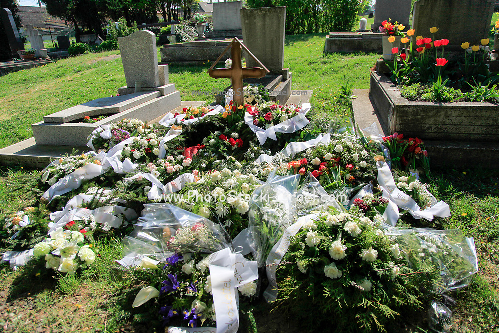 Flowers on a fresh grave in a cemetery. Photographed in Budapest, Hungary