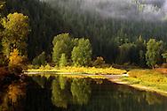 St. Joe River in fall. St. Joe River Valley, North Idaho.