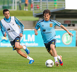 24.05.2012, Sportplatz Golm FC Schruns, Schruns, AUT, UEFA EURO 2012, Trainingslager, Spanien, im Bild Santi Cazorla und David Silva (ESP) // Santi Cazorla and David Silva of Spain during of Spanish National Footballteam for preparation UEFA EURO 2012 at Sportplatz Golm FC Schruns, Schruns, Austria on 20120524. EXPA Pictures © 2012, PhotoCredit EXPA/ Peter Rinderer