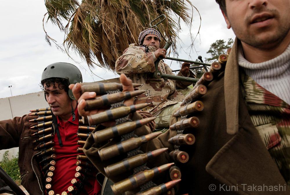 Anti-Col. Muammar Gaddafi militia demonstrate at Abu Atni Army base in Benghazi, Libya, on Feb 26, 2011 after the oppositions against Gaddafi took control of the city earlier this week. .Photo by Kuni Takahashi.