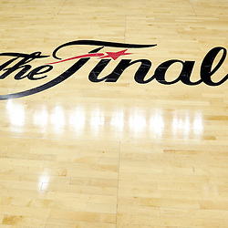 Jun 11, 2013; San Antonio, TX, USA; General view of the Finals logo prior to the first quarter of game three of the 2013 NBA Finals between the Miami Heat and the San Antonio Spurs at the AT&T Center. Mandatory Credit: Derick E. Hingle-USA TODAY Sports