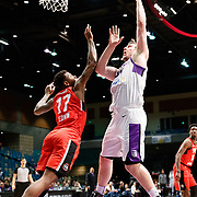 Reno Bighorns Center JACK COOLEY (45) shoots against Raptors 905 Forward FUQUAN EDWIN (17) during the NBA G-League Basketball game between the Reno Bighorns and the Raptors 905 at the Reno Events Center in Reno, Nevada.
