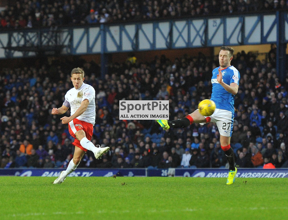 Will Vaulks fires a shot at goal during the Ladbrokes Championship match between Rangers v Falkirk, Ibrox Stadium, Saturday 30 January 2016 (c) Angie Isac | SportPix.org.uk