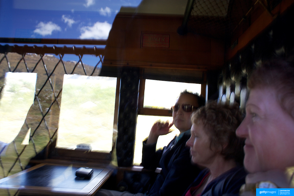 A passenger on the Kingston Flyer vintage steam train at Saturday's relaunch of the historic locomotives at Fairlight near Queenstown, Central Otago, New Zealand, 29th October 2011. Photo Tim Clayton...