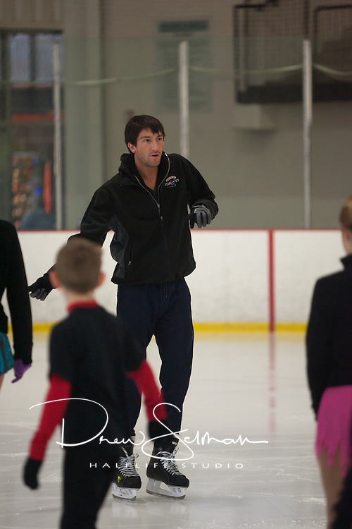 Tuesday March 29, 2011 - Webster Groves - Contest winner Luke Anderson of Webster Groves, skated with Olympic gold medalist Evan Lysacek and Olympic silver medalist Sasha Cohen, Tuesday at the Smucker's Skating Party promotion of the Smucker's Stars on Ice Tour. Luke's mother, Kari Anderson, entered and won a contest to have the celebrity skating party that was at the Webster Groves Recreation Complex. About 26 other friends, all members of the Metro Edge Figure Skating Club were invited to the party where they played games, raced, and learned some skate-dance routines from the tour performance.
