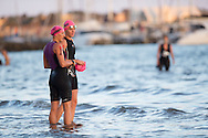 Laura Siddall (GBR) and Kym Jaenke (AUS), February 9, 2014 - Triathlon : Geelong Ironman 70.3, Eastern Beach Precinct, Geelong, Victoria, Australia. Credit: Lucas Wroe