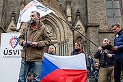 "Lutz Bachmann, leader of the anti-Islam movement PEGIDA (Patriotic Europeans Against the Islamisation of the West) speaking in front of a few hundred people which gathered in Prague to protest the EU's migrant policies and against Islam in general, ""We do not want Islam in Czech Republic"" is the slogan. The rally was attended by members of Polish and German far right groups such as members of the Pegida movement from Dresden."