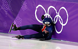 Great Britain's Charlotte Gilmartin crashes in the Short Track Speed Skating - Ladies 1,500m Semifinal 2 at the Gangneung Oval during day eight of the PyeongChang 2018 Winter Olympic Games in South Korea.