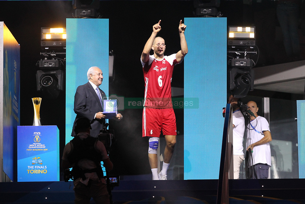 September 30, 2018 - Turin, Piedmont, Italy - Bartosz Kurek of Poland receives the prize as the best player in the tournament after the final match between Brazil and Poland for the FIVB Men's World Championship 2018 at Pala Alpitour in Turin, Italy, on 30 September 2018. Poland won 3: 0 and it is confirmed world champion. (Credit Image: © Massimiliano Ferraro/NurPhoto/ZUMA Press)