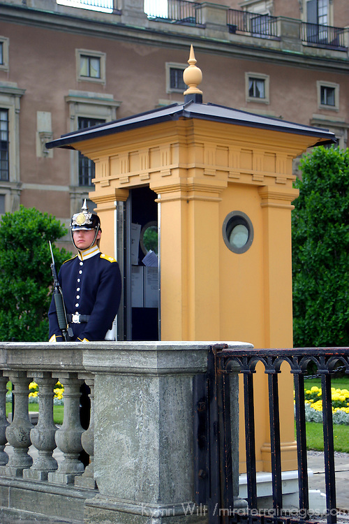 Europe, Sweden, Stockholm. A Guard of the Royal Palace in Stockholm.