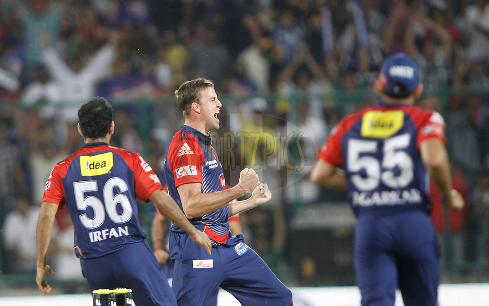 Delhi Daredevils player Morne Morkel celebrates the wicket of Rajasthan Royals player Brad Hogg during match 39 of the the Indian Premier League ( IPL) 2012  between The Delhi Daredevils and the Rajasthan Royals held at the Feroz Shah Kotla, Delhi on the 29th April 2012..Photo by Pankaj Nangia/IPL/SPORTZPICS