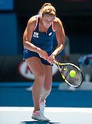 KARIN KNAPP (ITA) faced M. Sharapova (RUS) in Day 4 of the 2014 Australian Open. Sharapova defeated Knapp 6-3, 4-6, 10-8 at Melbourne's Rod Laver Arena.