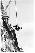 Member of Dangerous sports Club jumping out over Oxford High St. 1983<br /> &copy; Copyright Photograph by Dafydd Jones 66 Stockwell Park Rd. London SW9 0DA Tel 020 7733 0108 www.dafjones.com
