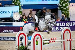 MATHY Francois Jr (BEL), Casanova de L' Herse<br /> Göteborg - Gothenburg Horse Show 2019 <br /> Longines FEI Jumping World Cup™ Final<br /> Training Session<br /> Warm Up Springen / Showjumping<br /> Longines FEI Jumping World Cup™ Final and FEI Dressage World Cup™ Final<br /> 03. April 2019<br /> © www.sportfotos-lafrentz.de/Stefan Lafrentz