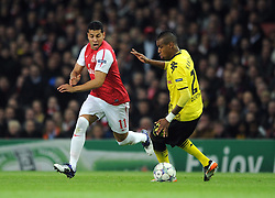 23.11.2011, Emirates Stadion, London, ENG, UEFA CL, Gruppe F, FC Arsenal (ENG) vs Borussia Dortmund (GER), im Bild Arsenal's Andre Santos in action against Borussia Dortmund's Felipe Santana during the football match of UEFA Champions league, group F, between FC Arsenal (ENG) and Borussia Dortmund (POR) at Emirates Stadium, London, United Kingdom on 2011/11/23. EXPA Pictures © 2011, PhotoCredit: EXPA/ Sportida/ Chris Brunskill..***** ATTENTION - OUT OF ENG, GBR, UK *****