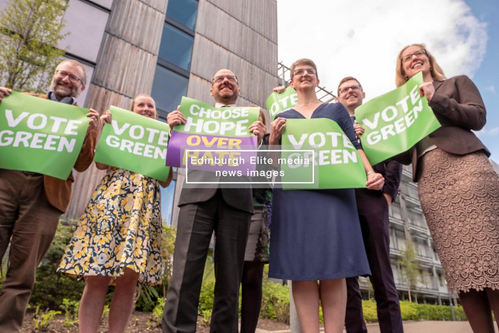 Pictured: Chas Booth, Mags Hall (white blouse)<br />Patrick Harvie,   Gillian Mackay,  Maggie Chapman, Allan Faulds, and Lorna Slater (glasses)<br /><br />The Scottish Greens unveiled their list of candidates for the forthcoming EU election in Edinburgh today.<br /><br />The party's Co-Convenor Patrick Harvie MSP introduced the lead candidate, Maggie Chapman, and announced the full list at the Welcoming Association's HQ.  Mr Harvie and Ms Chapman took the opportunity to meet with EU citizens who are new to Edinburgh and learning English at the centre.<br /><br />The full list is as follows:<br />1.    Maggie Chapman<br />2.    Lorna Slater<br />3.    Gillian Mackay<br />4.    Chas Booth<br />5.    Mags Hall<br />6.    Allan Faulds<br /><br />Ger Harley | EEm 25 April 2019