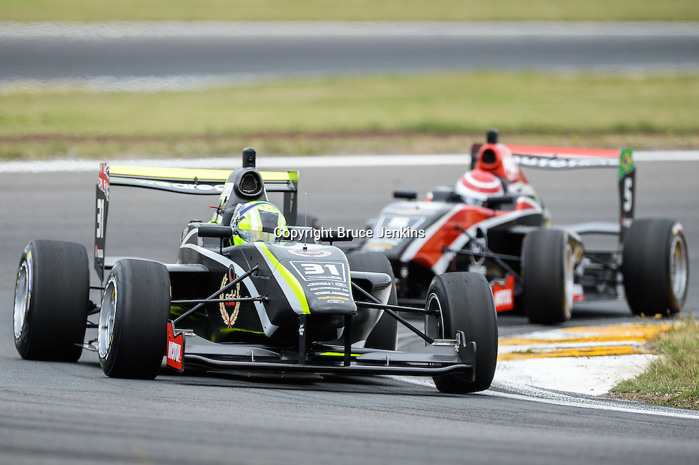Lando Norris leads Pedro Piquet in Race 1, Round 4 of the Toyota Racing Series at Bruce Mclaren Motorsport Park, Taupo, New Zealand on Saturday Feb 6 2016