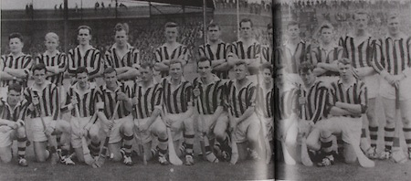 Kilkenny All-Ireland Hurling Champions 1963. Back Row: Billy Dwyer, Tom Walsh, Eddie Keher, Cha Whelan, Fr Tom Murphy, Martin Coogan, Ted Carroll, Alfie Hickey, Ted Kelly, Noel Skeehan, Pa Dillon, Ollie Walsh. Front Row: Fan Larkin, Oliver Gough, Denis Heaslip, Paddy Moran, Martin Treacy, Sean Clohosey, Seamus Cleere (capt), John McGovern, Willie Murphy, Sean Buckley, Tony Kelly, Jim Treacy.