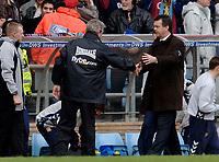 Photo: Glyn Thomas.<br />Aston Villa v Birmingham City. The Barclays Premiership. 16/04/2006.<br /> Aston Villa's manager David O'Leary (R) shakes hands with Steve Bruce.