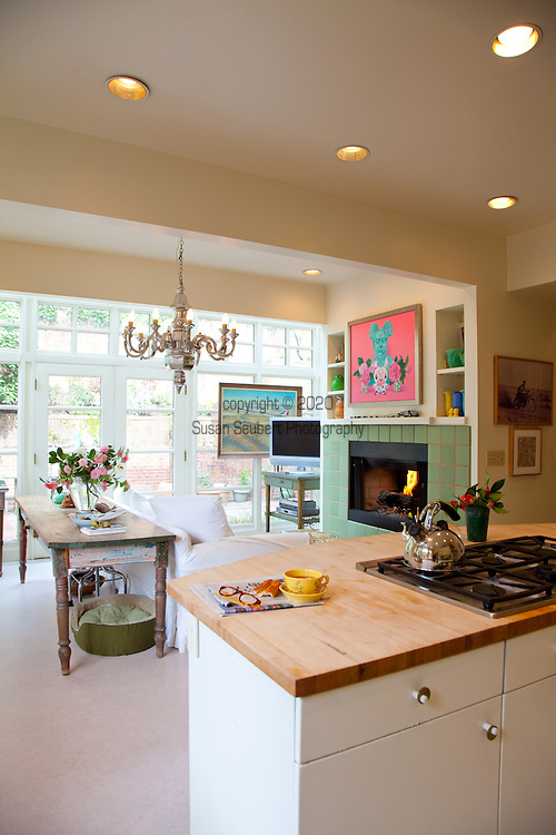 The Portland, Oregon home of Wendy Burden, author of  the memoir, Dead End Gene Pool. The kitchen.  The painting above the fireplace is by Ms. Burden.