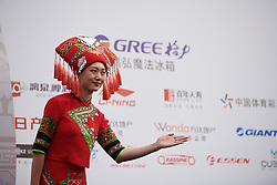 Greeter on the podium at GREE Tour of Guangxi Women's WorldTour 2019 a 145.8 km road race in Guilin, China on October 22, 2019. Photo by Sean Robinson/velofocus.com