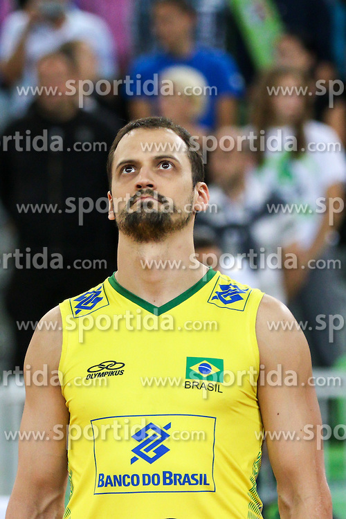 Luiz Felipe Marques Fonteles of Brazil during friendly volleyball match between national teams of Slovenia and Brasil in Arena Stozice on 9. September 2015 in , Ljubljana, Slovenia. Photo by Matic Klansek Velej / Sportida