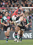 Twickenham, GREAT BRITAIN, Harlequins', Jorden TURNER-HALL tackles, Saracens high jumper Adam POWELL, in the first half of the  Guinness Premiership match,  Harlequins vs Saracens at The Stoop Stadium, Surrey on Sat. 07.03.2009.  [Photo. Peter Spurrier/Intersport-images]