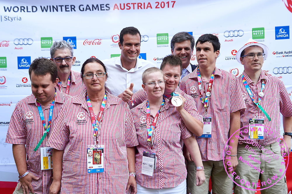 Timothy Shriver with SO Austria team pose to photo while Austria 2017 Reception during third day of the Special Olympics World Games Los Angeles 2015 on July 27, 2015 in Los Angeles, USA.<br /> USA, Los Angeles, July 27, 2015<br /> <br /> Picture also available in RAW (NEF) or TIFF format on special request.<br /> <br /> For editorial use only. Any commercial or promotional use requires permission.<br /> <br /> Adam Nurkiewicz declares that he has no rights to the image of people at the photographs of his authorship.<br /> <br /> Mandatory credit:<br /> Photo by &copy; Adam Nurkiewicz / Mediasport