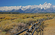 During the last century, there were many buck and rail fences built in Grand Teton National Park and throughout Wyoming. These fences became popular because they don't require post holes to be dug, which is difficult in this rocky terrain.