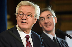 © Licensed to London News Pictures. 24/09/2018. London, UK.  Former Brexit Secretary DAVID DAVIS (L) and Conservative MP JACOB REES-MOGG (R) attend an Alternative Brexit event, held by the IEA (Institute of Economic Affairs) in central London. Photo credit: Ben Cawthra/LNP
