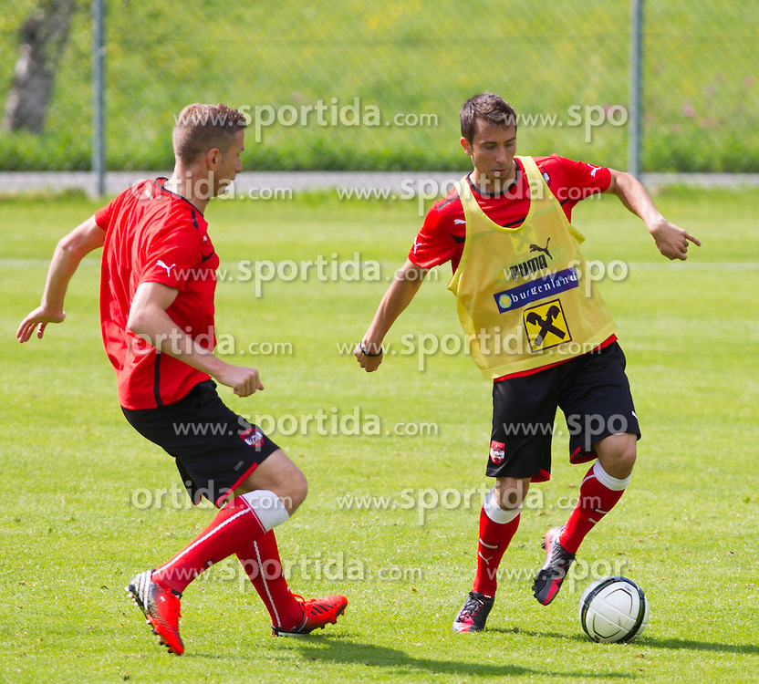 25.05.2012, Sportzentrum, Seefeld, AUT, Trainingslager, Oesterreich, im Bild Marc Janko und Markus Suttner (AUT) // Marc Janko und Markus Suttner of Austria during practice session of Austrian National Footballteam at Sportzentrum, Seefeld, Austria on 2012/05/25. EXPA Pictures © 2012, PhotoCredit: EXPA/ Johann Groder