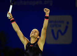 WUHAN, Sept. 28, 2017 Maria Sakkari of Greece celebrates after winning the singles quarterfinal match against Alize Cornet of France at 2017 WTA Wuhan Open in Wuhan, capital of central China's Hubei Province, on Sept. 28, 2017. Maria Sakkari won 2-0.  wll) (Credit Image: © Cheng Min/Xinhua via ZUMA Wire)