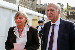 © Licensed to London News Pictures. 10/09/2019. London, UK. Sir Vince Cable (R) with his wife Rachel Smith departs from Westminster Abbey in London after attending <br />